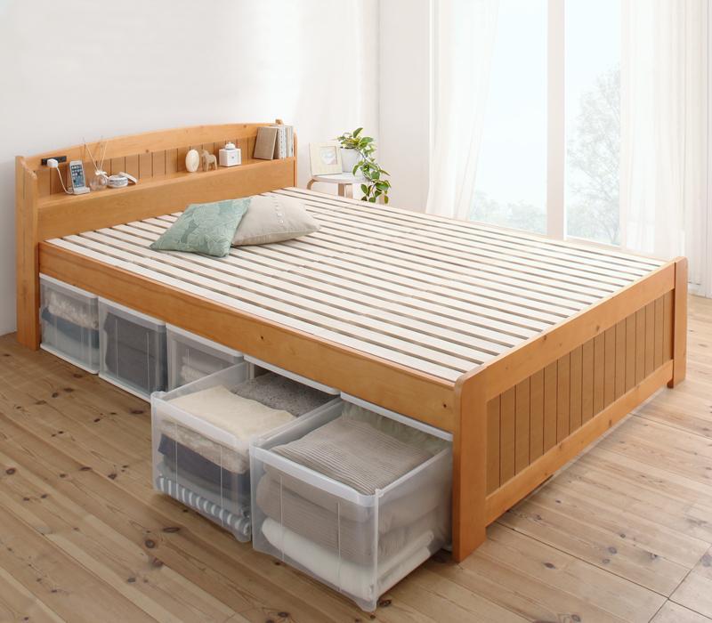 高さ調節出来る棚・コンセント付きすのこベッド Fiton フィットン セミダブル