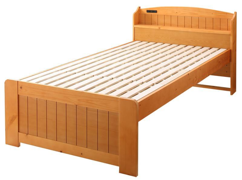 高さ調節できて長く使える ショート丈コンパクトすのこベッド 棚・コンセント付き beffy ベフィ シングル ショート丈