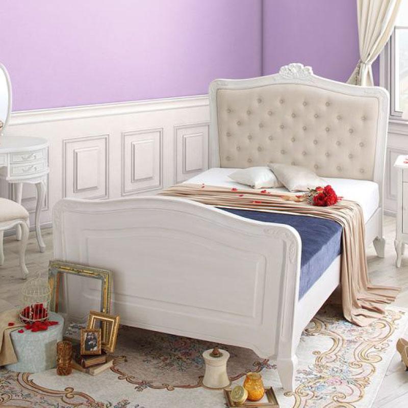 オトナ女子にもぴったりな憧れのフレンチエレガントベッドシリーズ Rosy Lilly ロージーリリー ボンネルコイルマットレス付き シングル