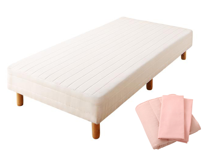 ショート丈分割式 脚付きマットレスベッド ボンネル マットレスベッド お買い得ベッドパッド・シーツセット付き セミダブル ショート丈 脚15cm