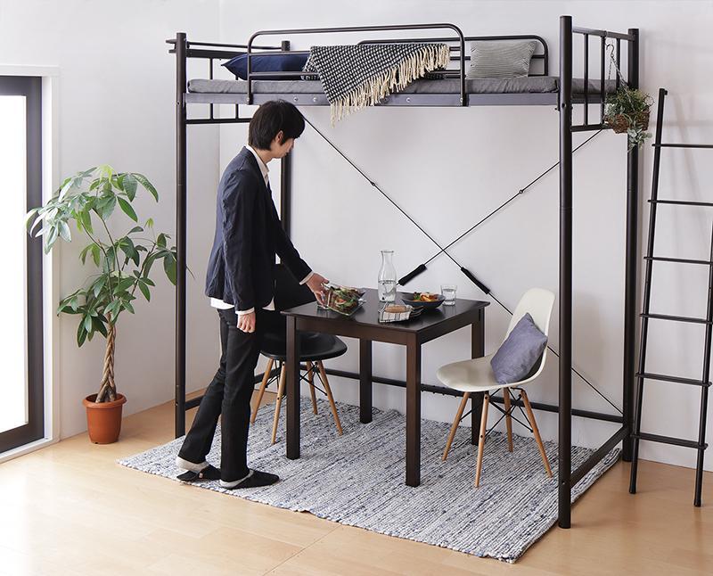 おしゃれな部屋実現 高さが選べる 棚・コンセント付シンプルロフトベッド 固綿マットレス付き スーパーハイ シングル