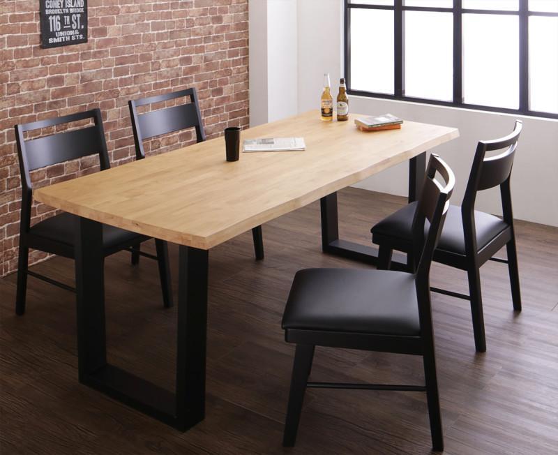 【スーパーSALE限定価格】天然木無垢材ヴィンテージデザインダイニング NELL ネル 5点セット(テーブル+チェア4脚) W180