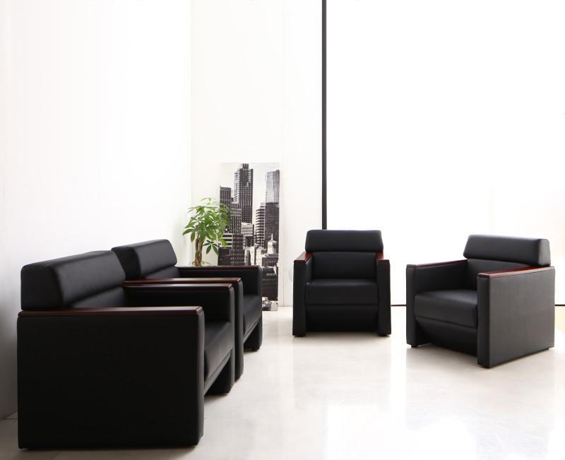 条件や目的に応じて選べる高級木肘デザイン応接ソファセット Office Grade オフィスグレード ソファ4点セット 1P×4