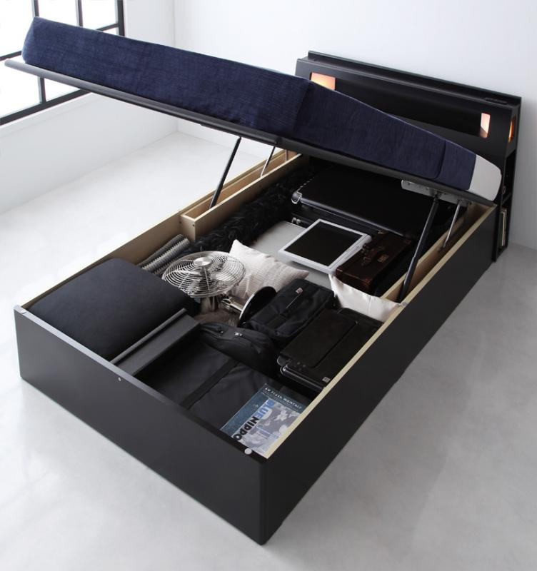 組立設置付 モダンライトコンセント付き・ガス圧式跳ね上げ収納ベッド Kezia ケザイア 国産カバーポケットコイルマットレス付き シングル 深さラージ