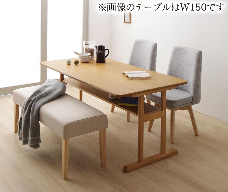 回転イス付き 北欧デザイン2本脚ダイニングテーブルセット woda ヴォダ 4点セット(テーブル+チェア2脚+ベンチ1脚) W120