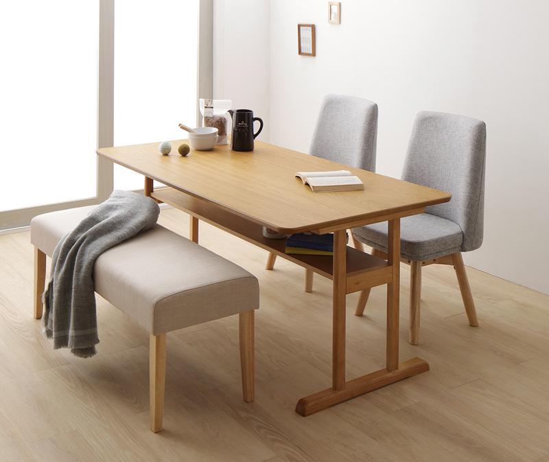 回転イス付き 北欧デザイン2本脚ダイニングテーブルセット woda ヴォダ 4点セット(テーブル+チェア2脚+ベンチ1脚) W150
