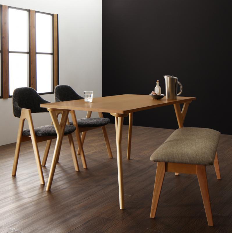 【スーパーSALE限定価格】北欧モダンデザインダイニング ILALI イラーリ 4点セット(テーブル+チェア2脚+ベンチ1脚)