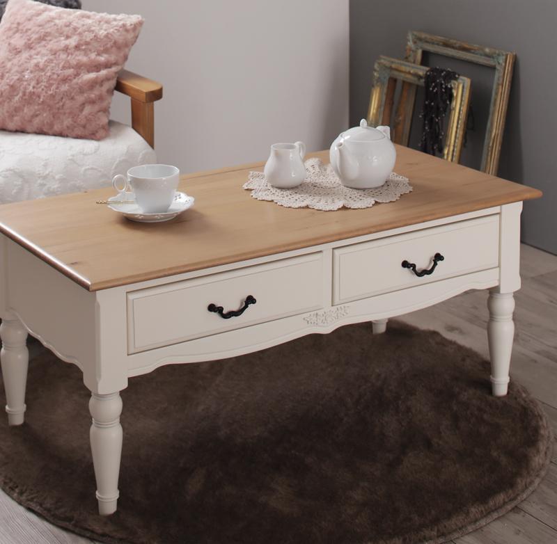 【単品】テーブル【Lilium】フレンチシャビーテイストシリーズ家具【Lilium】リーリウム/コーヒーテーブル【代引不可】