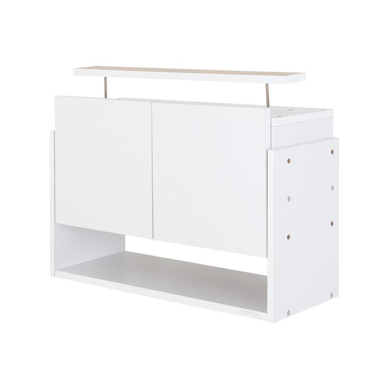 【単品】収納上置 高さ45~72 奥行29 ホワイト LEDコレクションラック ワイド【代引不可】