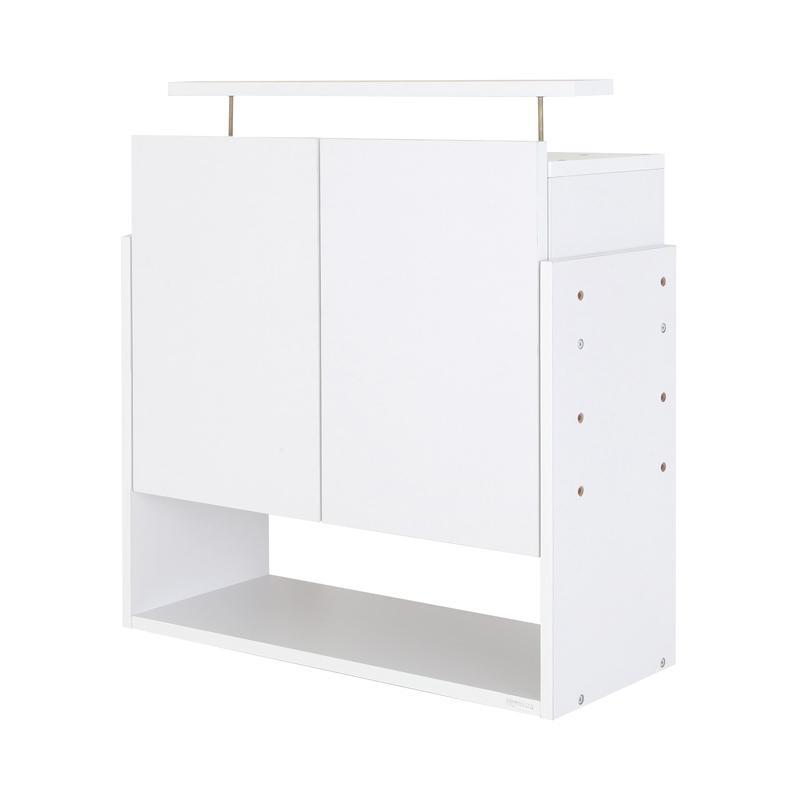 【単品】収納上置 高さ61~94 奥行29 ホワイト LEDコレクションラック ワイド【代引不可】