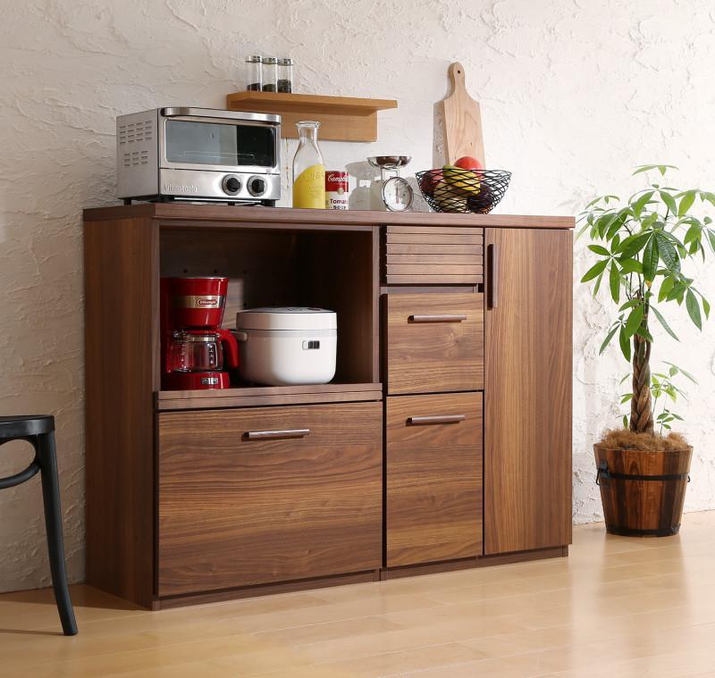 【スーパーSALE限定価格】日本製完成品 天然木調ワイドキッチンカウンター Walkit ウォルキット レンジ台+扉付き引き出し 120cm