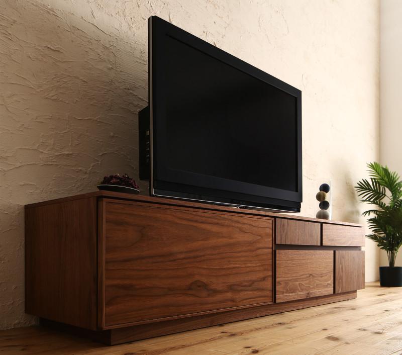 国産完成品天然木 和モダンデザイン ガラス突板テレビボード Stuta ストゥータ 幅150