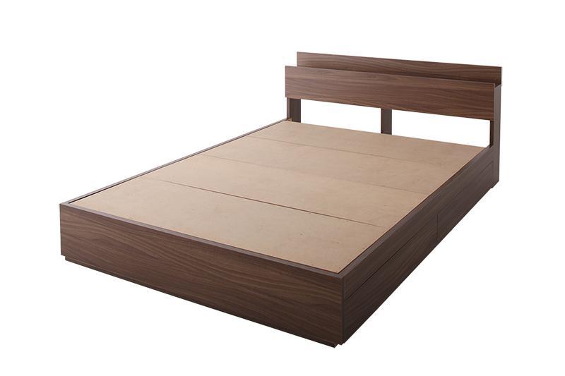収納ベッド セミダブル【General】【フレームのみ】 ウォルナットブラウン 棚・コンセント付き収納ベッド【General】ジェネラル