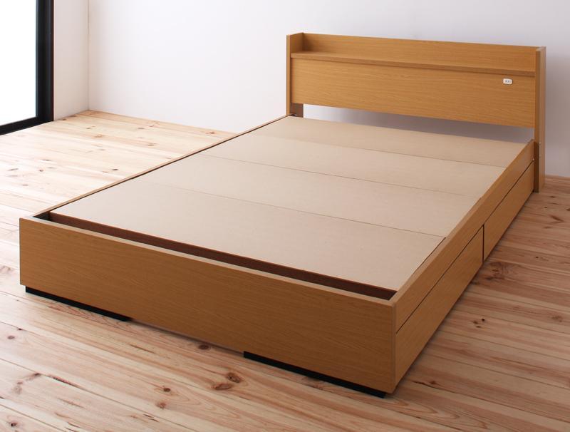 収納ベッド セミダブル【Mona】【フレームのみ】ナチュラル コンセント付き収納ベッド【Mona】モナ【代引不可】