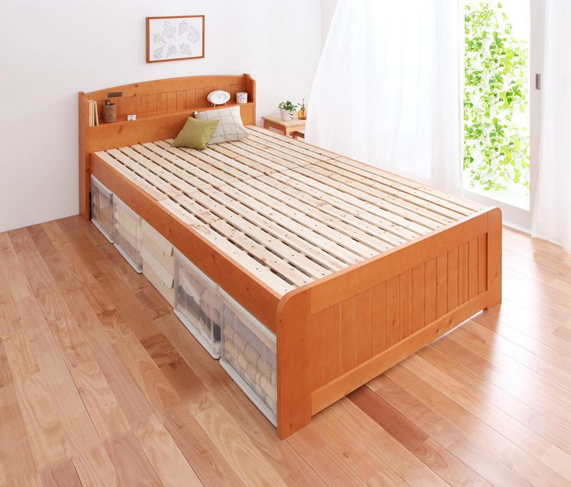 すのこベッド ダブル【pittarida】高さが調整出来る宮付きすのこベッド【pittarida】ピッタリダ【代引不可】