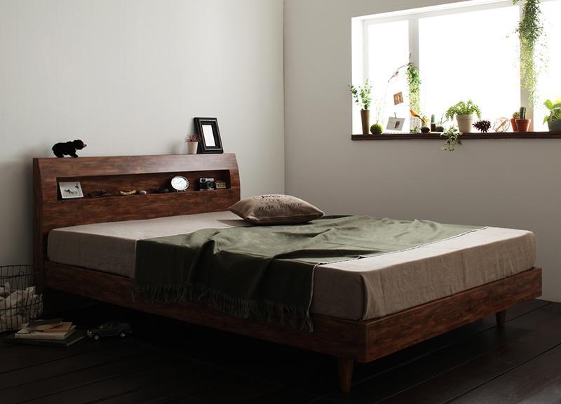 すのこベッド セミダブル【Jack Timber】【ボンネルコイルマットレス:ハード付き】 シャビーブラウン 棚・コンセント付きユーズドデザインすのこベッド【Jack Timber】ジャック・ティンバー