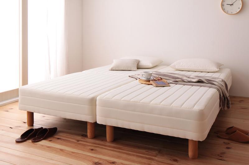 脚付きマットレスベッド クイーン(セミシングル×2) 脚15cm 新・移動ラクラク!分割式ポケットコイルマットレスベッド