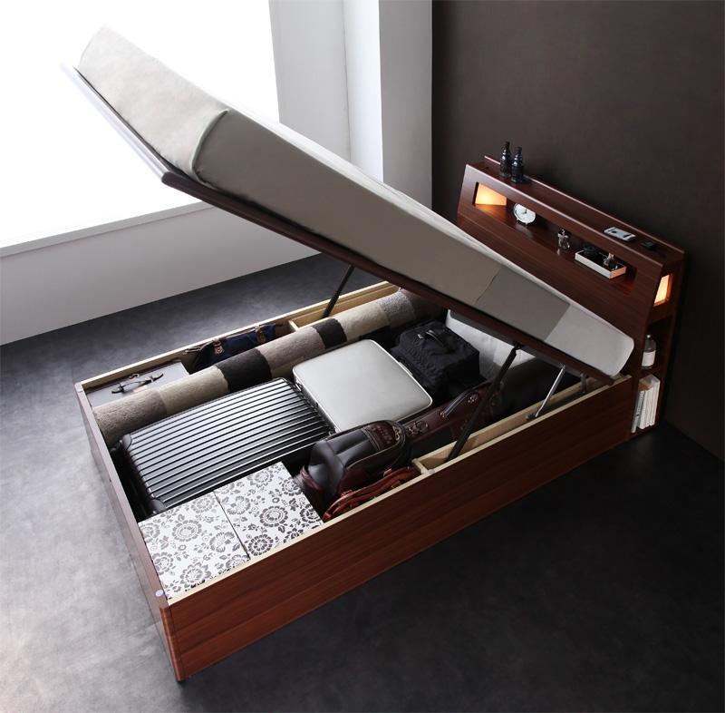 組立設置 モダンライトコンセント付き・ガス圧式跳ね上げ収納ベッド Cyrus サイロス ポケットコイルマットレス:ハード付き セミダブル
