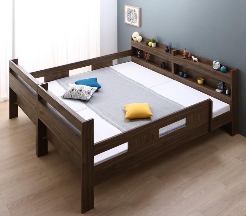 【スーパーSALE限定価格】ずっと使える!2段ベッドにもなるワイドキングサイズベッド【Whentoss】ウェントス 薄型・軽量ボンネルコイルマットレス付き