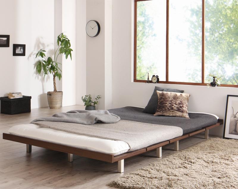 ベッド セミダブル スチール脚タイプ ロング フレームカラー:ウォルナットブラウン デザインボードベッドロング Girafy ジラフィ