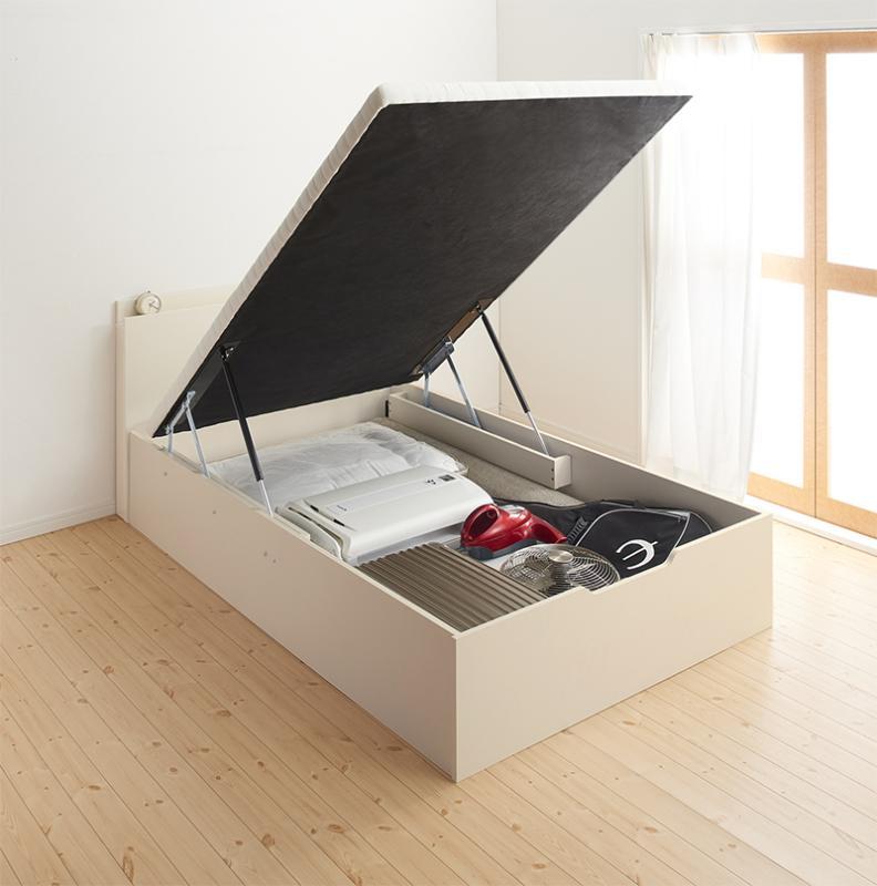 【スーパーSALE限定価格】通気性抜群 棚コンセント付 大容量跳ね上げベッド Prostor プロストル ベッドフレームのみ 縦開き セミダブル ラージ