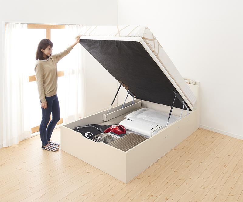 通気性抜群 棚コンセント付 大容量跳ね上げベッド Prostor プロストル 薄型ポケットコイルマットレス付き 縦開き セミダブル ラージ
