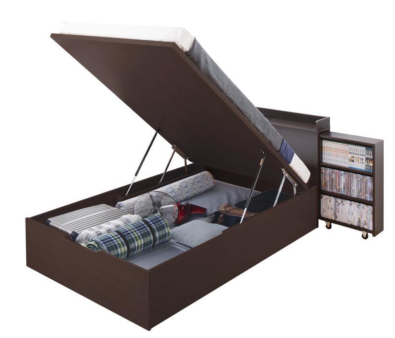 【スーパーSALE限定価格】スライド収納_大容量ガス圧式跳ね上げベッド Many-IN メニーイン 薄型ポケットコイルマットレス付き 縦開き セミダブル 深さラージ