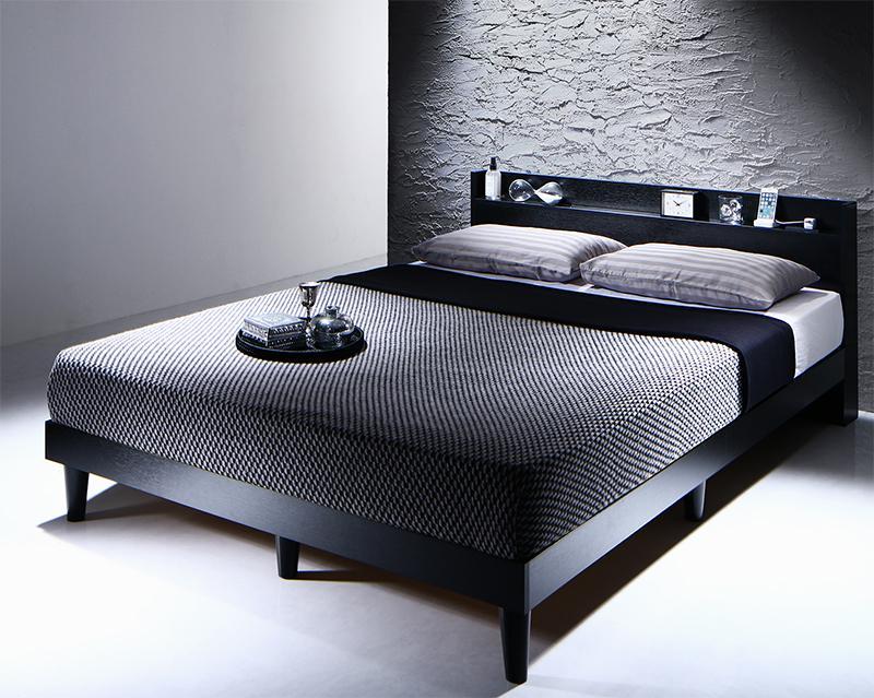 すのこベッド ダブル【ボンネルコイルマットレス:レギュラー付き】フレームカラー:ブラック マットレスカラー:ブラック 棚・コンセント付きデザインすのこベッド Morgent モーゲント