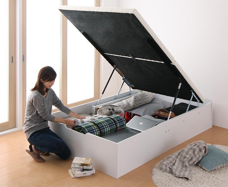 組立設置 簡単組立・らくらく搬入_ガス圧式大容量跳ね上げベッド Mysel マイセル ベッドフレームのみ 縦開き セミシングル 深さレギュラー
