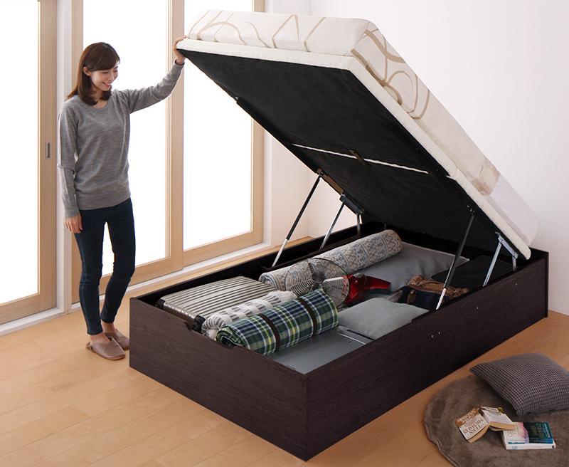 組立設置 簡単組立・らくらく搬入_ガス圧式大容量跳ね上げベッド Mysel マイセル 薄型ポケットコイルマットレス付き 縦開き セミシングル 深さグランド