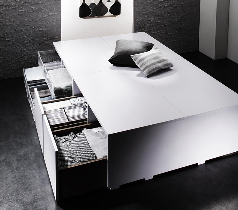 衣装ケースも入る大容量デザイン収納ベッド SCHNEE シュネー ベッドフレームのみ 引出し2杯 セミダブル