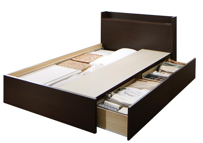 組立設置 連結 棚・コンセント付収納ベッド Ernesti エルネスティ ベッドフレームのみ 床板 Aタイプ セミダブル