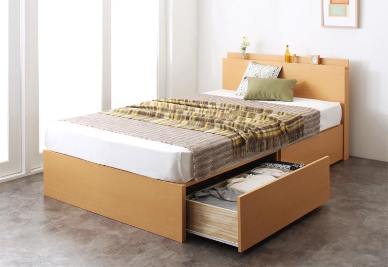 組立設置 長く使える棚・コンセント付国産頑丈2杯収納ベッド Rhino ライノ 羊毛入りデュラテクノマットレス付き セミダブル