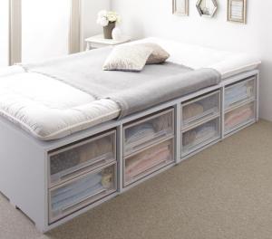 布団で寝られる大容量収納ベッド Semper センペール 薄型スタンダードボンネルコイルマットレス付き 引き出しなし ハイタイプ セミダブル