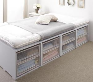 布団で寝られる大容量収納ベッド Semper センペール 薄型プレミアムボンネルコイルマットレス付き 引き出しなし ハイタイプ シングル