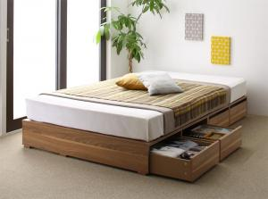 布団で寝られる大容量収納ベッド Semper センペール 薄型スタンダードボンネルコイルマットレス付き 引出し4杯 ロータイプ シングル