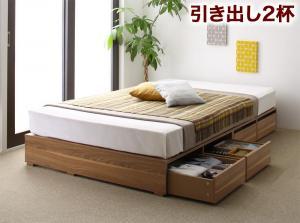 布団で寝られる大容量収納ベッド Semper センペール 薄型スタンダードポケットコイルマットレス付き 引出し2杯 ロータイプ セミダブル