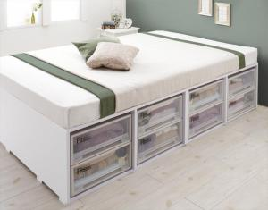 衣装ケースも入る大容量収納ベッド Friello フリエーロ 薄型プレミアムボンネルコイルマットレス付き 引き出しなし シングル