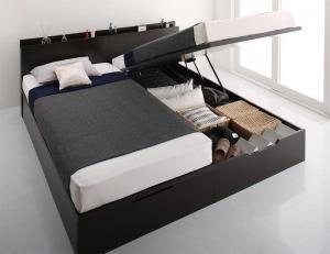 お客様組立 シンプルモダンデザイン大容量収納跳ね上げ大型ベッド 薄型スタンダードポケットコイルマットレス付き 縦開き クイーン(SS×2) 深さレギュラー