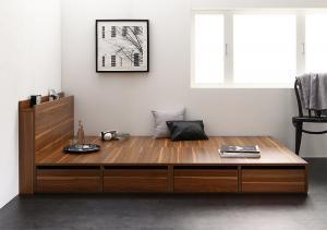 高さが選べる棚コンセント付きデザイン収納ベッド Schachtel シャフテル ベッドフレームのみ シングル 引き出し4杯 ロータイプ