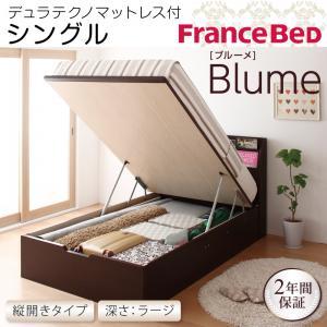 開閉&深さが選べるガス圧式跳ね上げ収納ベッド【Blume】 ブルーメ・ラージ S 【縦開き】デュラテクノマットレス付