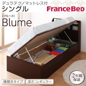開閉&深さが選べるガス圧式跳ね上げ収納ベッド【Blume】 ブルーメ・レギュラー S 【横開き】デュラテクノマットレス付