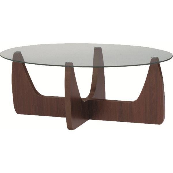 リビングテーブル オーバル型 強化ガラス製 脚/両面使用可(2WAY) GGH-361