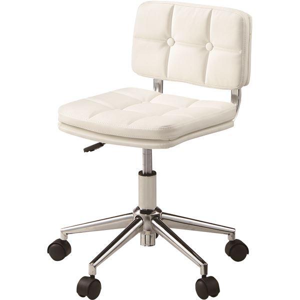 デスクチェア(椅子) 昇降機能付き スチール/ソフトレザー/合皮 RKC-301WH ホワイト(白)