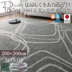 ラグマット 200×200cm【pavey】グリーンブルー 夏涼しく冬あたたかい 国産モダンデザインラグ【pavey】パヴィ【代引不可】