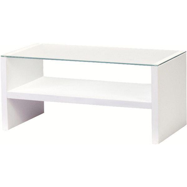 リビングテーブル 強化ガラス製(ガラス天板) 棚収納付き HAB-621WH ホワイト(白)