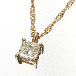 0.15ctダイヤモンドプリンセスカットペンダント/ネックレス ピンクゴールド