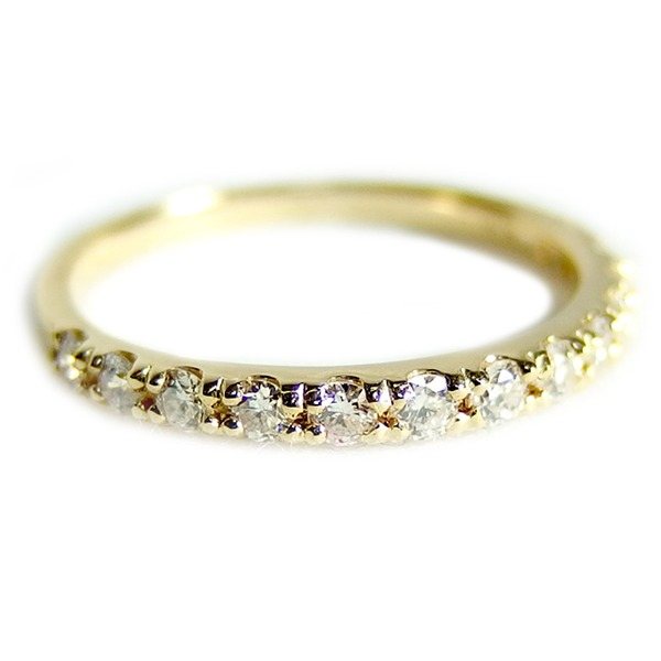 ダイヤモンド リングハーフエタニティ 0.3ct 9号 K18イエローゴールド 0.3カラット エタニティリング 指輪 鑑別カード付き