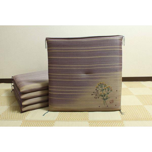 純国産/日本製 捺染返し い草座布団 『女郎花(おみなえし) 5枚組』 約55×55cm×5P