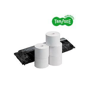 (まとめ)TANOSEE FSC認証感熱レジロール紙 58×80mm 巻長63m 中保存 コアレス 5巻入×10パック